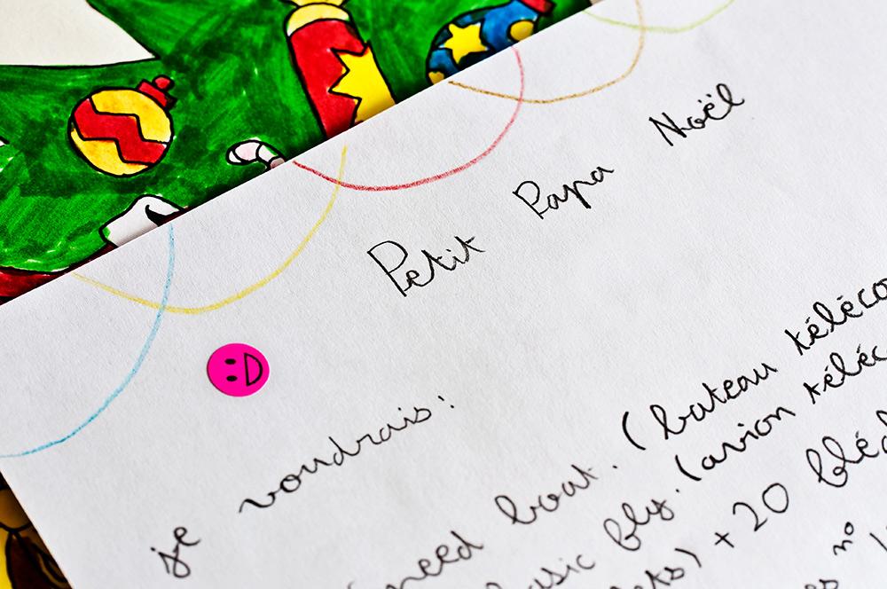 Une jolie lettre au père noël manuscrite